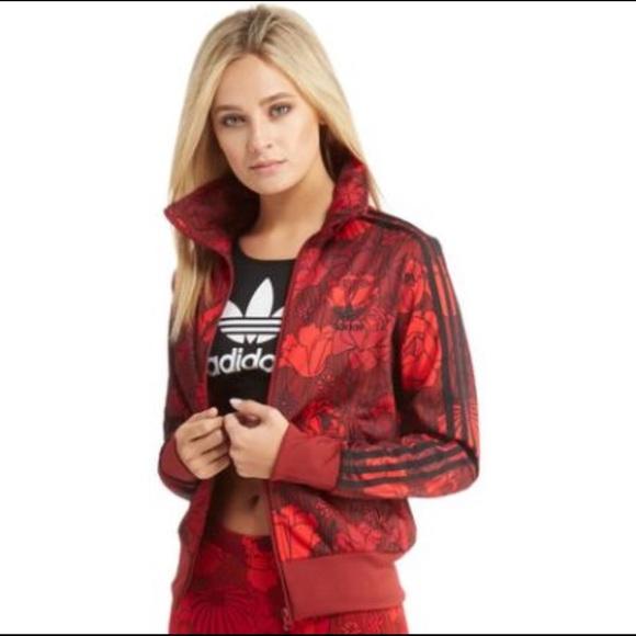 b8b7e2dd77 Adidas woman's firebird tracksuit red floral print